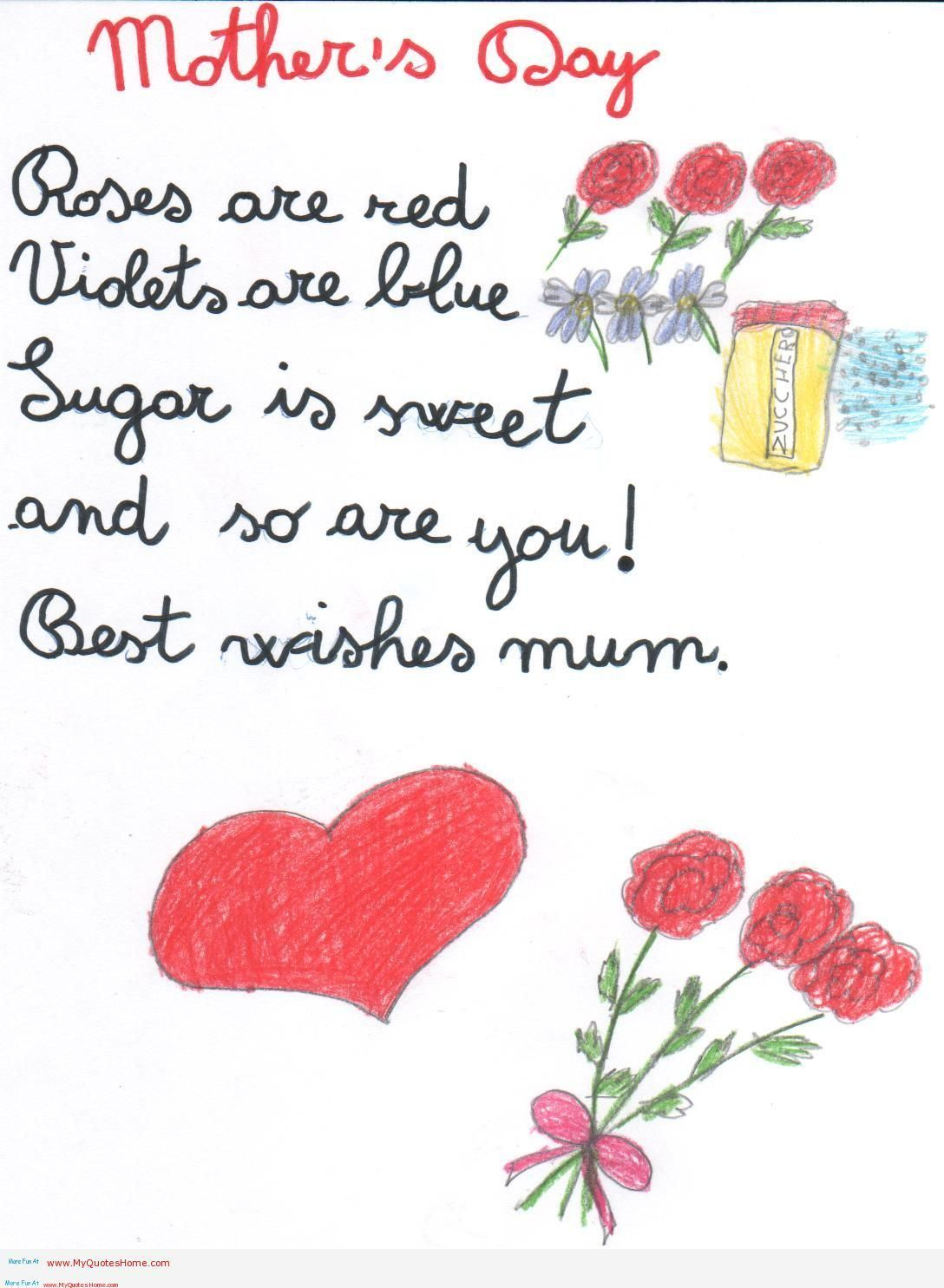 Kids Valentine Poems For Mom And Dad. Mothers Day Card Poems This ...