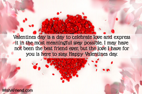 Valentines day is a day to, Valentines Day Message For Friends