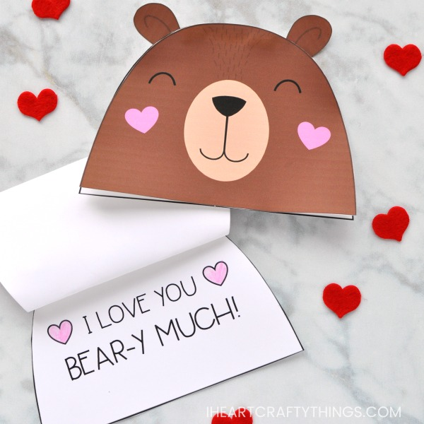 Adorable Bear Valentine Card for Kids | I Heart Crafty Things