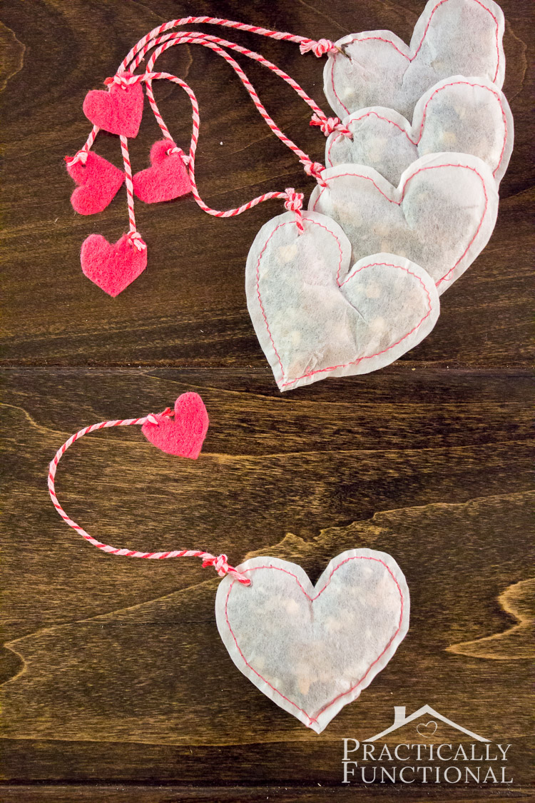 DIY Heart Shaped Tea Bags For Valentine