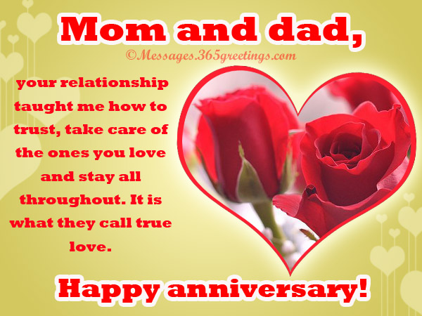 Anniversary Messages for Parents - 365greetings
