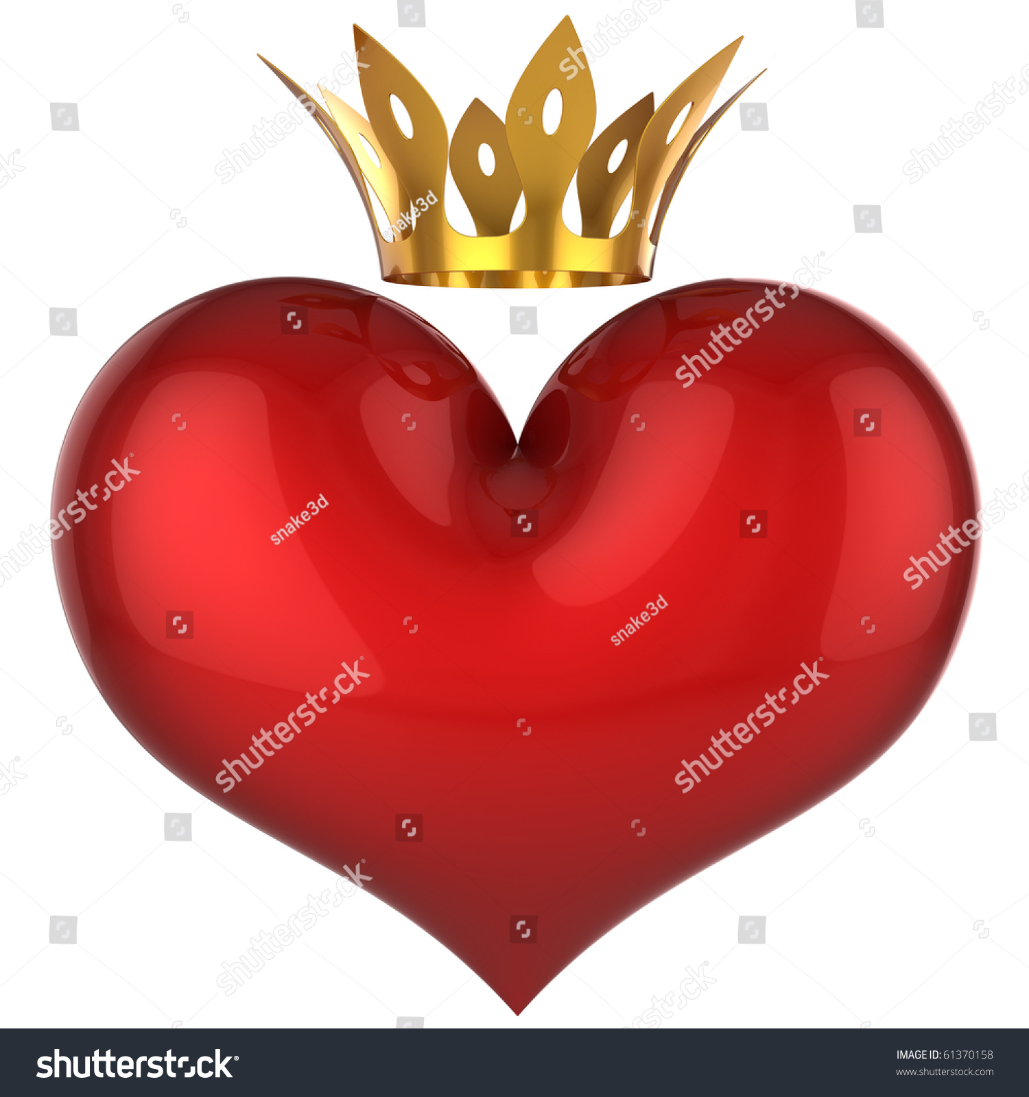 Heart King Queen Red Shiny Blank Stock Illustration 61370158 ...