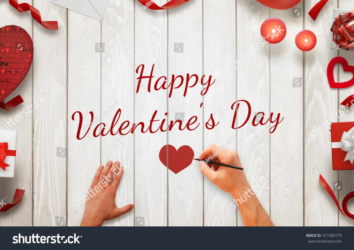 Man Hand Painting Happy Valentines Day Stock Photo (Edit Now ...