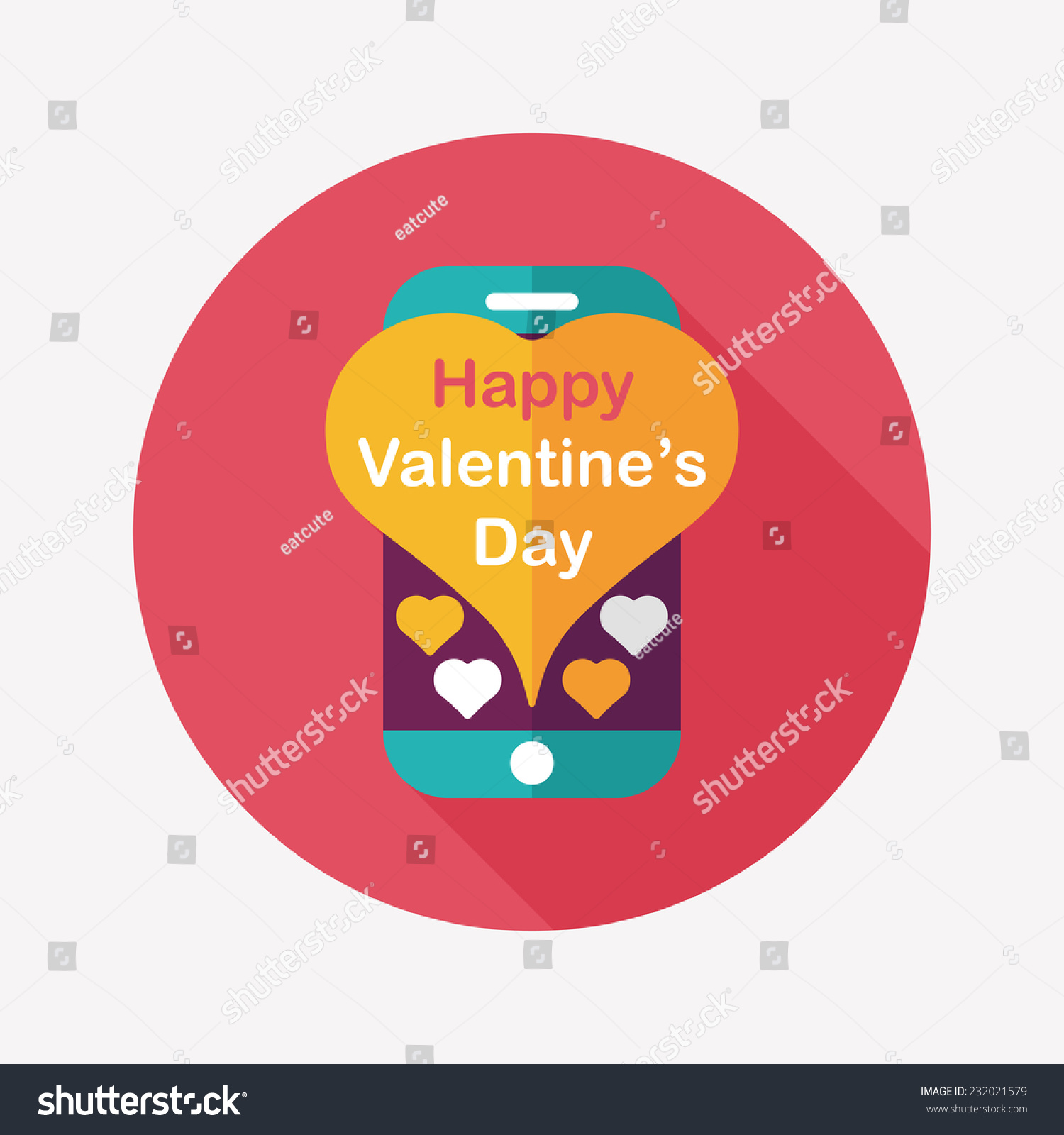 Valentines Day Message Phone Flat Icon Stock Vector (Royalty Free ...