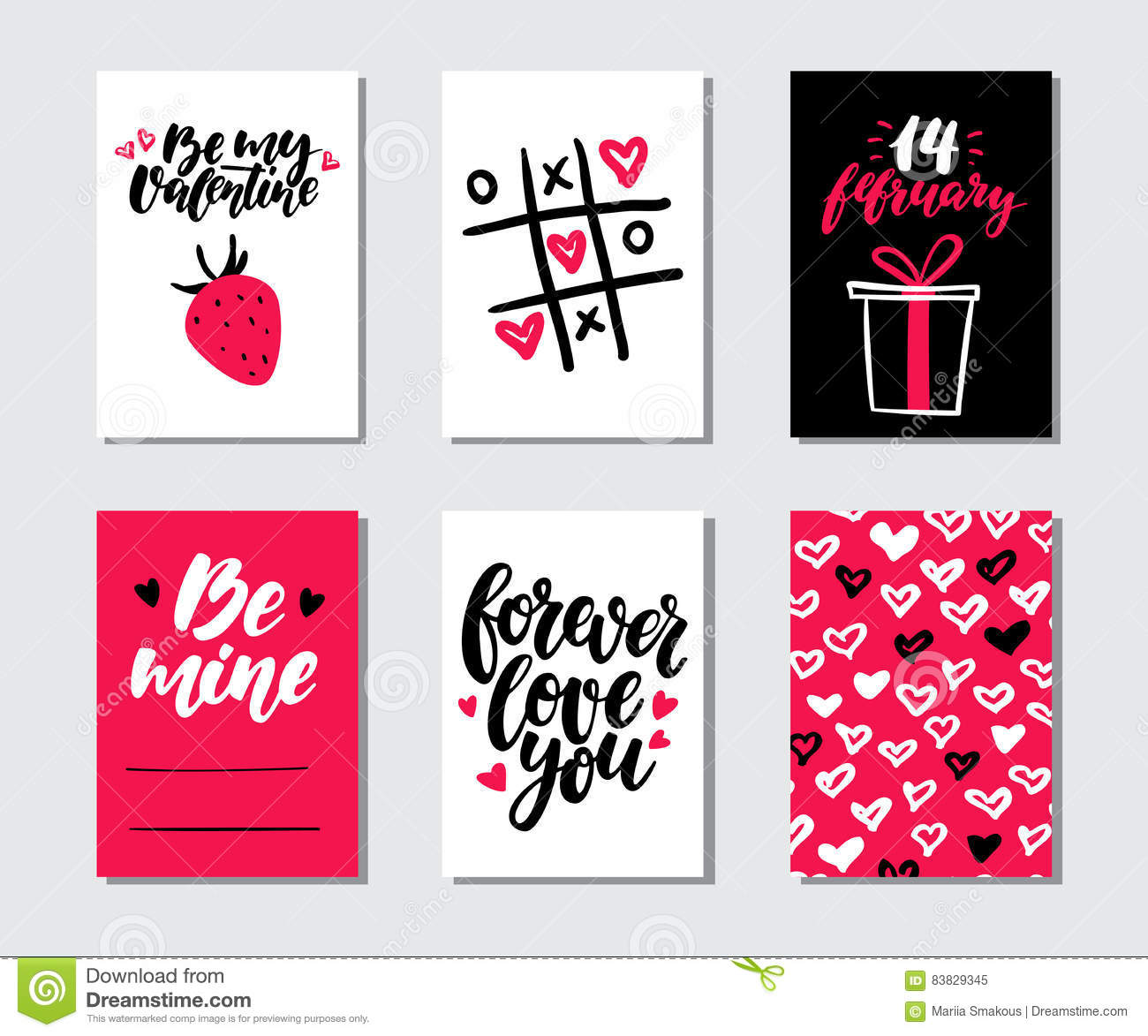 Valentines Day Gift Card Vector Set. Hand Drawn Printable ...