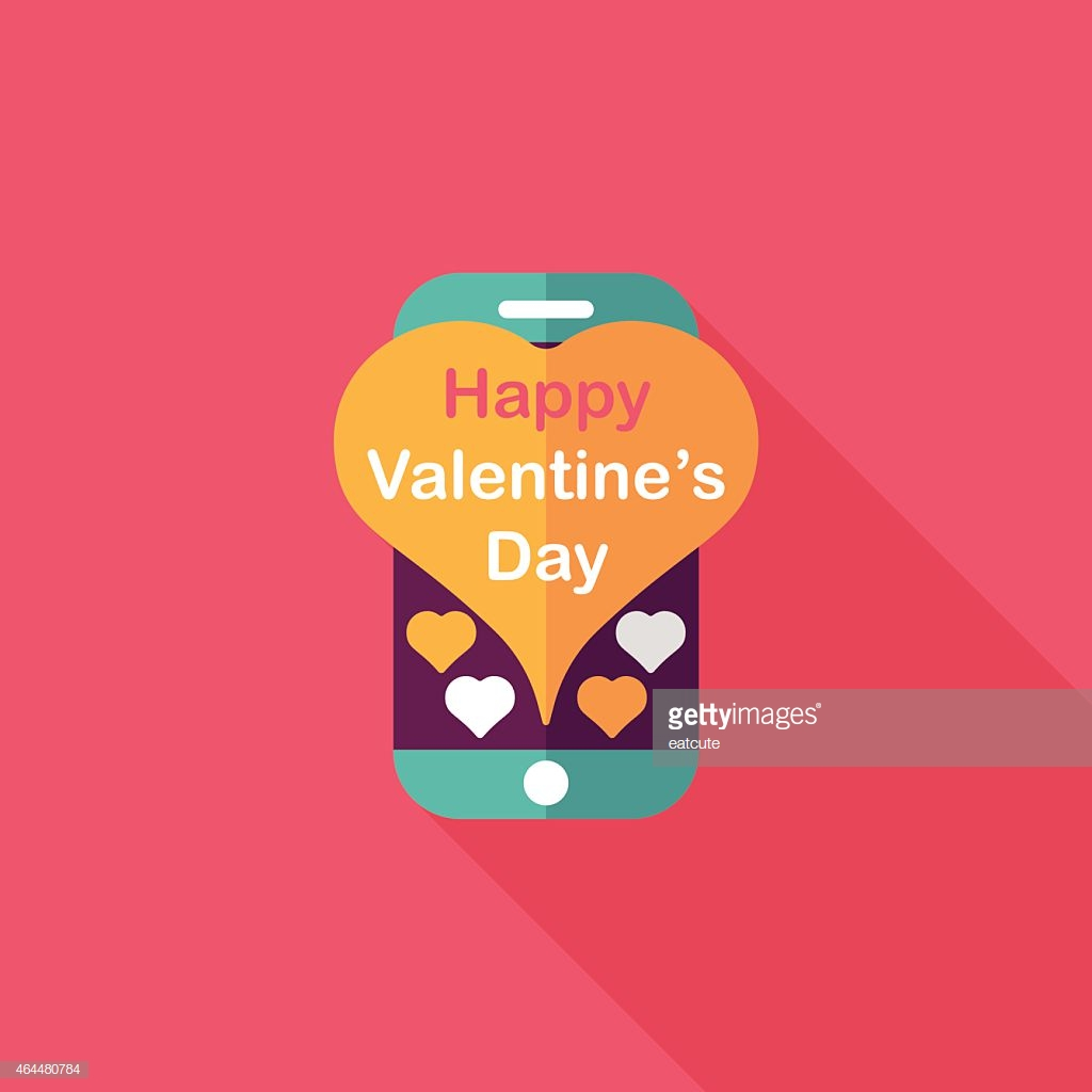 Valentines Day Message Phone Flat Icon With Long Shadoweps10 ...