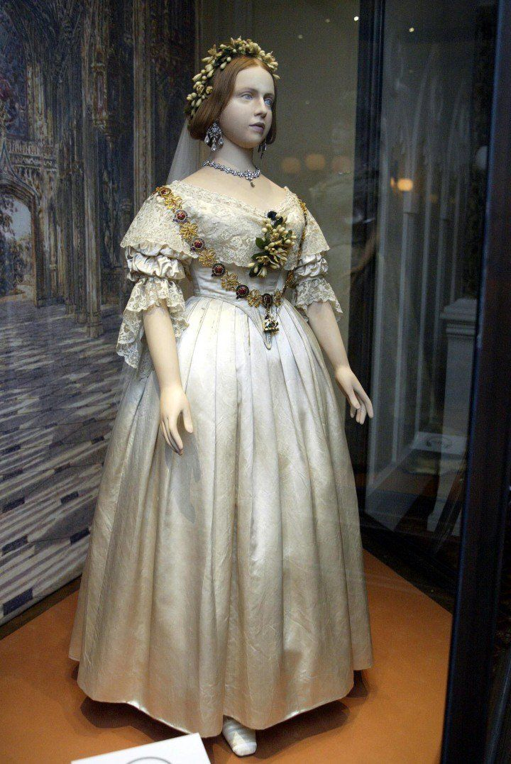 The wedding dress of Queen Victoria, as it was put on display at ...