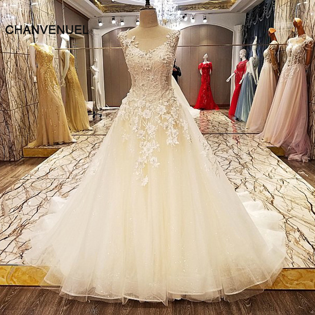 LS9210 bridal wedding dresses 2017 beading ball gown O neck sexy ...