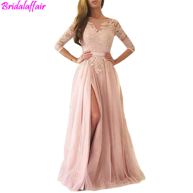 Abendkleider 2018 Dusty Rose Lace A Line Evening Dresses Sexy ...