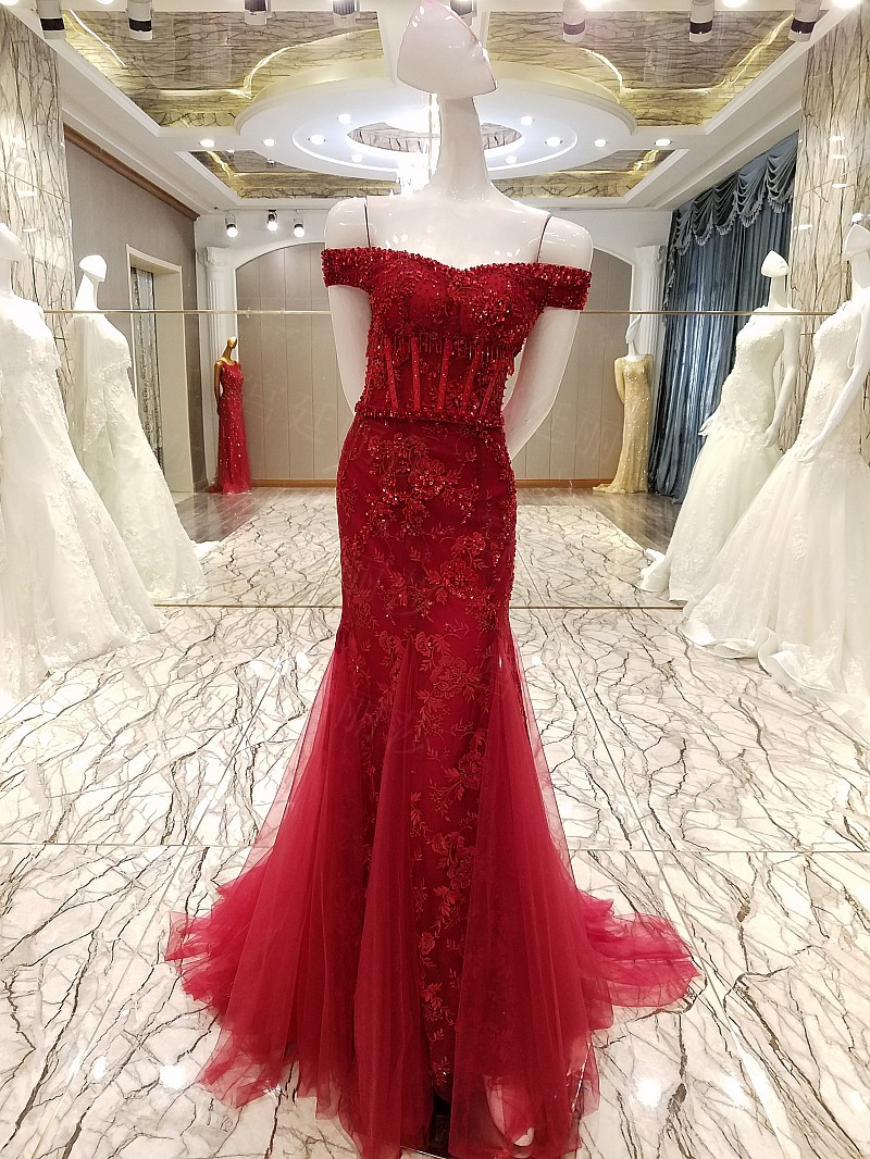 Abendkleider Rose Red Long Mermaid Prom Gowns 2018 Shiny Crystal ...