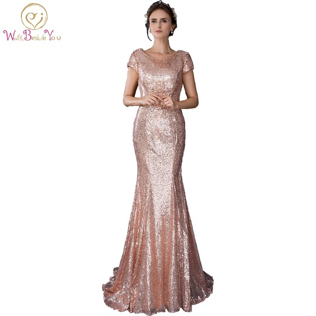 In Lager 100% Echt Pic Lange Party Kleid Rose Gold Meerjungfrau ...