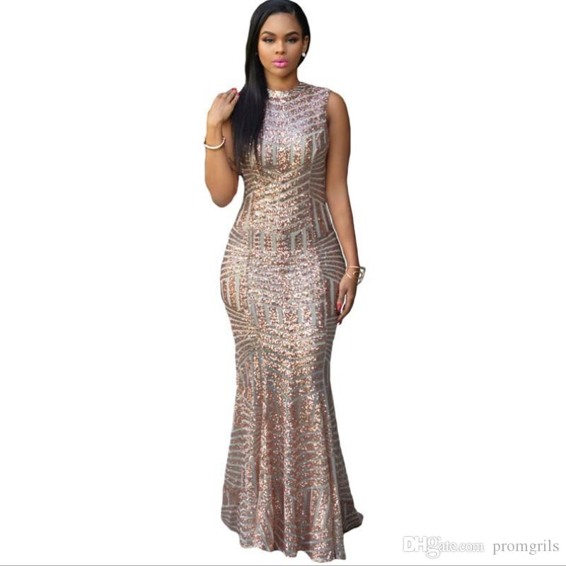 Rose Gold Sequined Evening Dresses Long Mermaid Vestidos De Novia ...