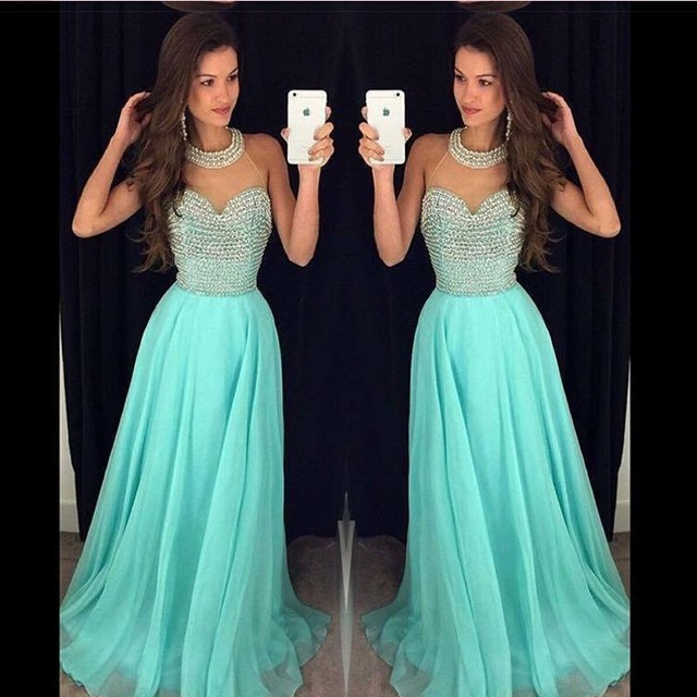 Aliexpress : Buy Sexy Halter Long Turquoise Prom Dresses 2017 ...
