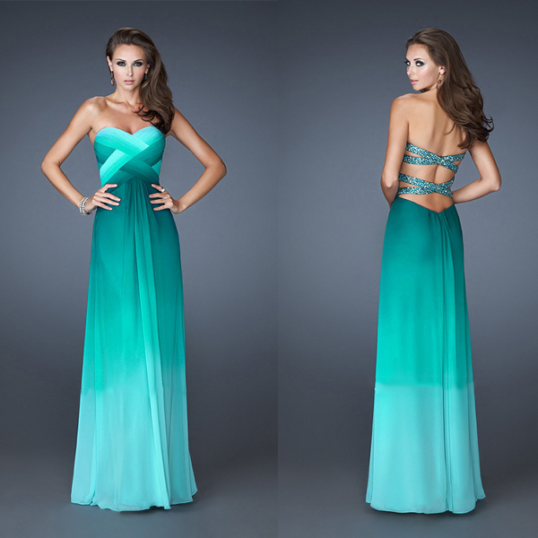 Turquoise Ombre Prom Dress Sweetheart Criss Cross Back Vestidos ...