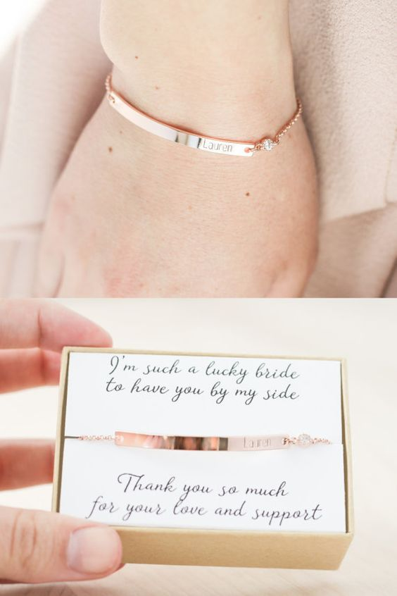 Bridesmaid Bracelet - Rose Gold Bridesmaid Jewelry - Bridesmaid ...
