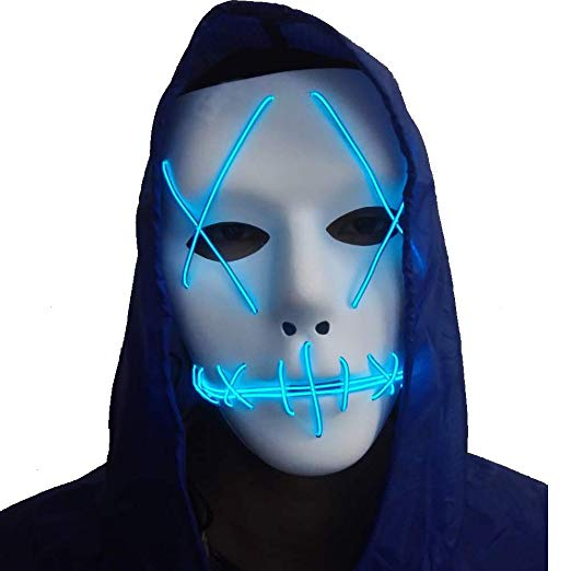 Amazon: A-MORE Halloween Mask Cosplay LED Glow Scary EL Wire ...