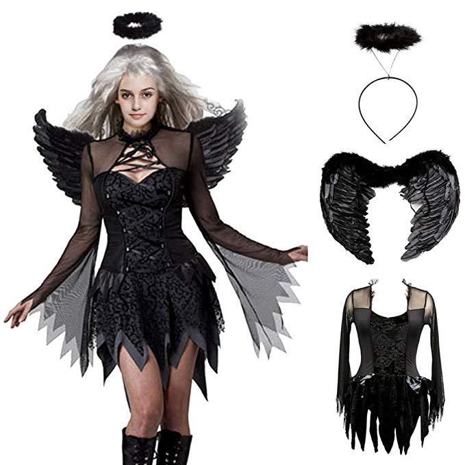 Amazon: Devil Black Fallen Angel Dress Sexy Halloween Costume ...