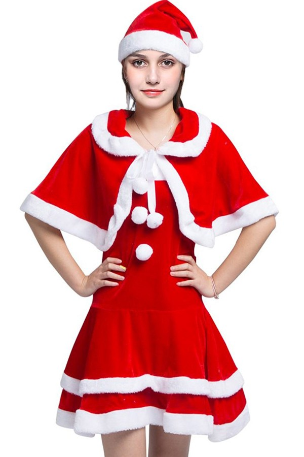 Red Faux Fur Christmas Cute Costume #023620 @ Christmas Costumes ...