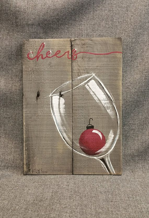 Christmas wine, Pallet wall Art decor, cheers, red ...